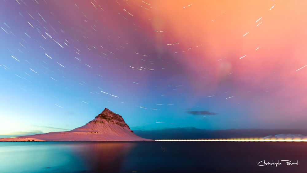 Star trail en Islande